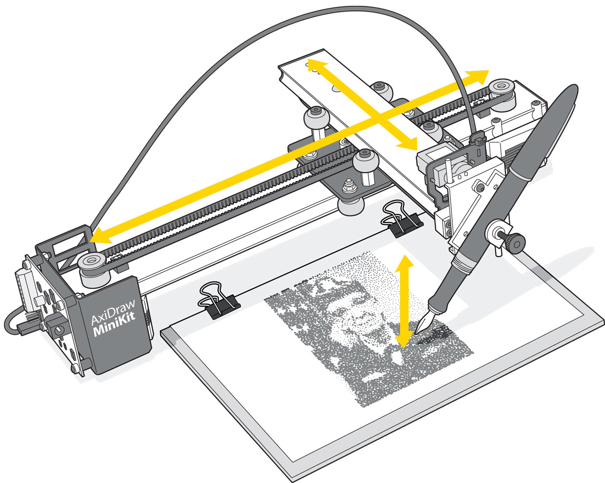 Drawing of AxiDraw Minikit overlaid with arrows showing direction of travel